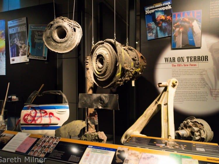 Resten van het vliegtuig dat het WTC is ingevlogen in het 9/11 Museum