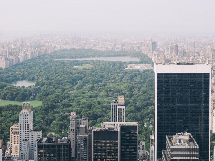 Uitzicht vanaf de Top of the Rock op het beroemde Central Park